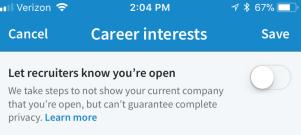 LinkedIn Job opportunity Toggle