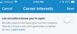 LinkedIn Job opportunity Toggle