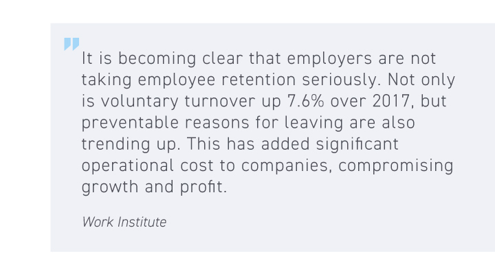 Retention Is 2020's Hot Labor Issue - Quote from Work Institute